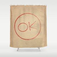 kim sy ok Shower Curtains featuring OK! by Matt Gorton