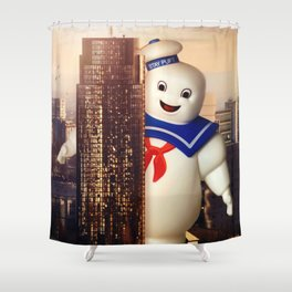 Marshmallow in my city Shower Curtain