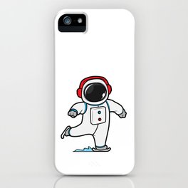 Astronaut at ice skating with ice skates iPhone Case
