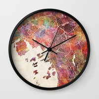 oslo Wall Clocks featuring Oslo by MapMapMaps.Watercolors