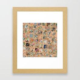 Vintage copper grid patchwork Framed Art Print