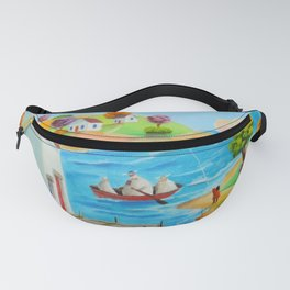 Folk art painting, sheep and cow in a boat Fanny Pack