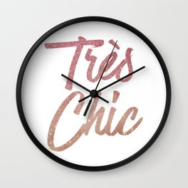 Tres Chic Rose Gold Glitter Ombre French Quote Wall Clock
