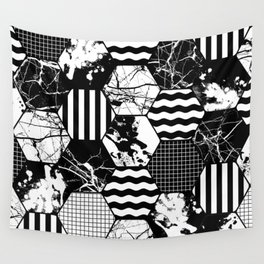 Hexual - Black and white, honeycomb, hexagon pattern, stripes, paint splats, grid and marble Wall Tapestry