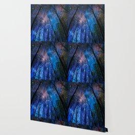 Black Trees Dark Blue Space Wallpaper