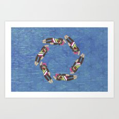Sock Monkey Water Ballet Horizontal Art Print