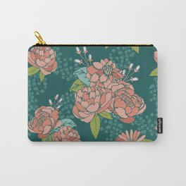 Moody Florals in Teal Carry-All Pouch