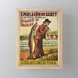 retro vintage emulsion de scott de aceite puro de higado de bacalao poster Framed Mini Art Print