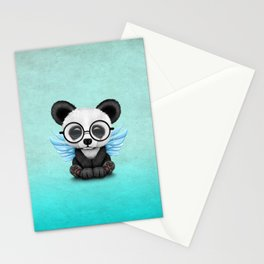 Cute Panda Cub with Fairy Wings and Glasses Blue Stationery Cards
