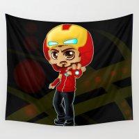 arya stark Wall Tapestries featuring Tony Stark - Iron Hooded by Kapika