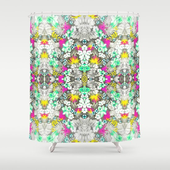 Tropical Yellow Pink Floral Kaleidoscope Pattern Shower Curtain