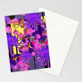 Purple Spider Mums Black & Grey Art Pink Flowers Stationery Cards