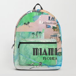 Miami Florida Fine Art Print Retro Vintage Map with Touristic Highlights Backpack