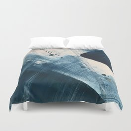 Against the Current [2]: A bold, minimal abstract acrylic piece in blue, white and gold Duvet Cover