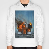 house Hoodies featuring House on Fire by FAMOUS WHEN DEAD