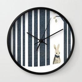 Winter Scene with Rabbit (collage in denim) Wall Clock