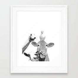 Black and White Farm Animal Friends Framed Art Print