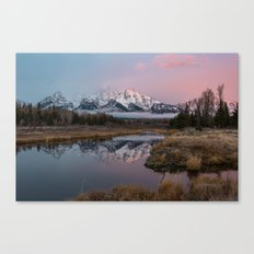 Snowy Pink Sunrise in the Tetons Canvas Print