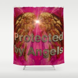 Protected by Angels Shower Curtain