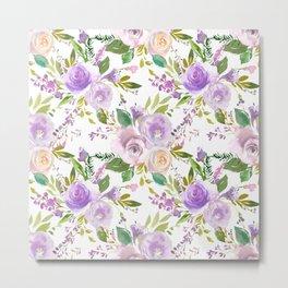 Botanical lilac violet modern hand painted floral Metal Print