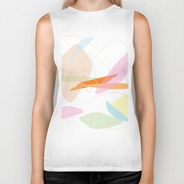 Abstract Pastel Minimal Shape Pattern Biker Tank
