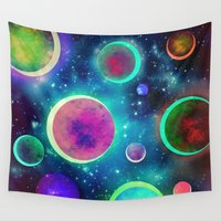 planets Wall Tapestries featuring Festive Planets by SensualPatterns
