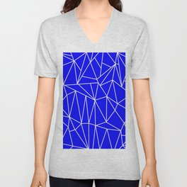 Geometric Cobweb (White & Blue Pattern) Unisex V-Neck