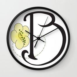 Ruby's Flower Initials - B Wall Clock