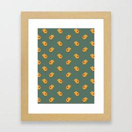 Sunny Family girl hand drawn home decor and textile design kids pattern on olive Framed Art Print