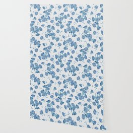 Blue Chinoiserie Pomegranate Flowers Wallpaper