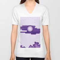 egyptian V-neck T-shirts featuring Egyptian Moon by Erica Putis