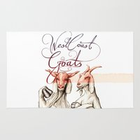 west coast Area & Throw Rugs featuring West Coast Goats by Mikael Biström