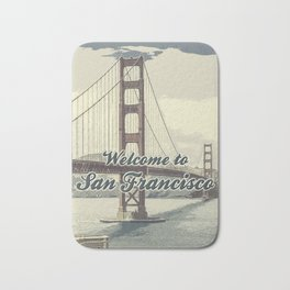 Welcome to San Francisco Golden Gate Bridge / Vintage style poster Bath Mat