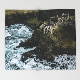 Castle ruin by the irish sea - Landscape Photography Throw Blanket