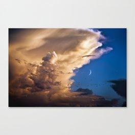 Clouds, Birds, Moon, Venus Canvas Print