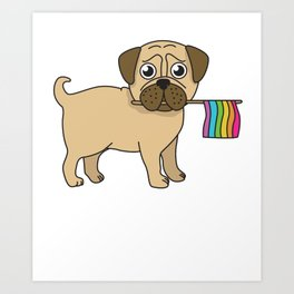 Pug Gifts Gay Pride Flag LGBT Equality Shirt Love Pug TShirt Art Print