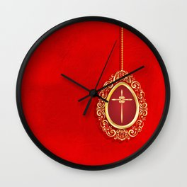 Beautiful red egg with gold cross on rich vibrant texture Wall Clock