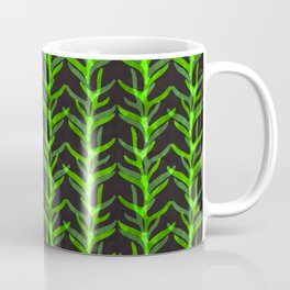 Watercolour Fern Leaf Woodland Plant Pattern Illustration Moss & Forest Green Nature Coffee Mug