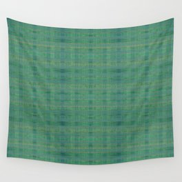 """Retro Teal Scottish Squares"" Wall Tapestry"