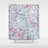 kansas city Shower Curtains featuring Kansas city map by MapMapMaps.Watercolors