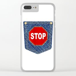 Stop Denim Pocket Clear iPhone Case