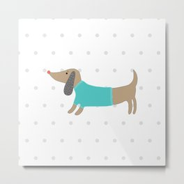 Cute hand drawn dog in dotted background Metal Print