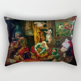 """Pieter Bruegel (also Brueghel or Breughel) the Elder """"An alchemist"""" Rectangular Pillow"""
