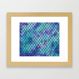 Mermaid Scales Watercolor Framed Art Print