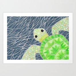 Tortu the Sassy Turtle Art Print