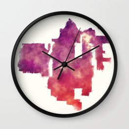 Santa Ana California city watercolor map in front of a white background Wall Clock