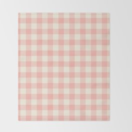 PASTEL GINGHAM 02, blush pink squares Throw Blanket