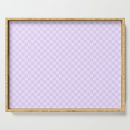 Chalky Pale Lilac Pastel Color Checkerboard Serving Tray