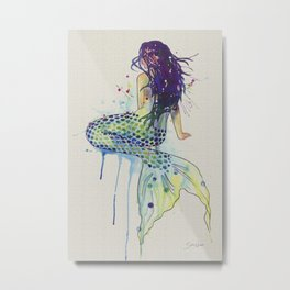 Mermaid - Natural Metal Print