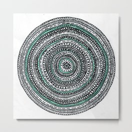 Mandala with a touch of pastel green Metal Print
